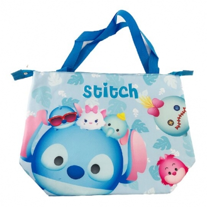 小禮堂 迪士尼TsumTsum 史迪奇 橫式尼龍保冷側背袋 行李拉桿袋 野餐袋 購物袋 (藍 大臉)