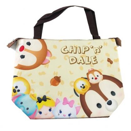 小禮堂 迪士尼TsumTsum 奇奇蒂蒂 橫式尼龍保冷側背袋 行李拉桿袋 野餐袋 購物袋 (棕 大臉)