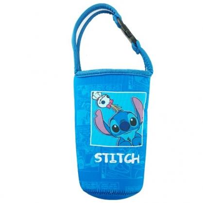 小禮堂 迪士尼 史迪奇 潛水布水壺袋 環保杯袋 飲料杯袋 (藍 相框)