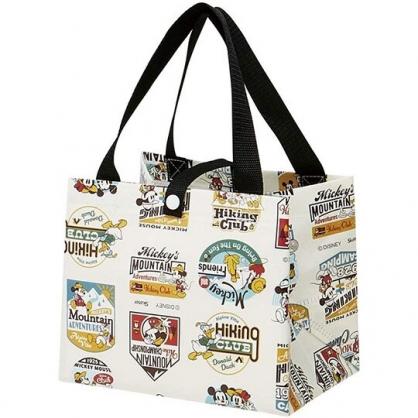 小禮堂 迪士尼 方形不織布便當袋 野餐袋 手提袋 餐袋 (米黑 LOGO)