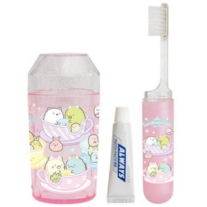 小禮堂 角落生物 日製 旅行牙刷組 折疊牙刷 漱口杯 牙膏 (粉 遊樂園)