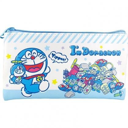 小禮堂 哆啦A夢 皮質扁平拉鍊筆袋 皮質筆袋 鉛筆袋 鉛筆盒 (藍白 玩偶)