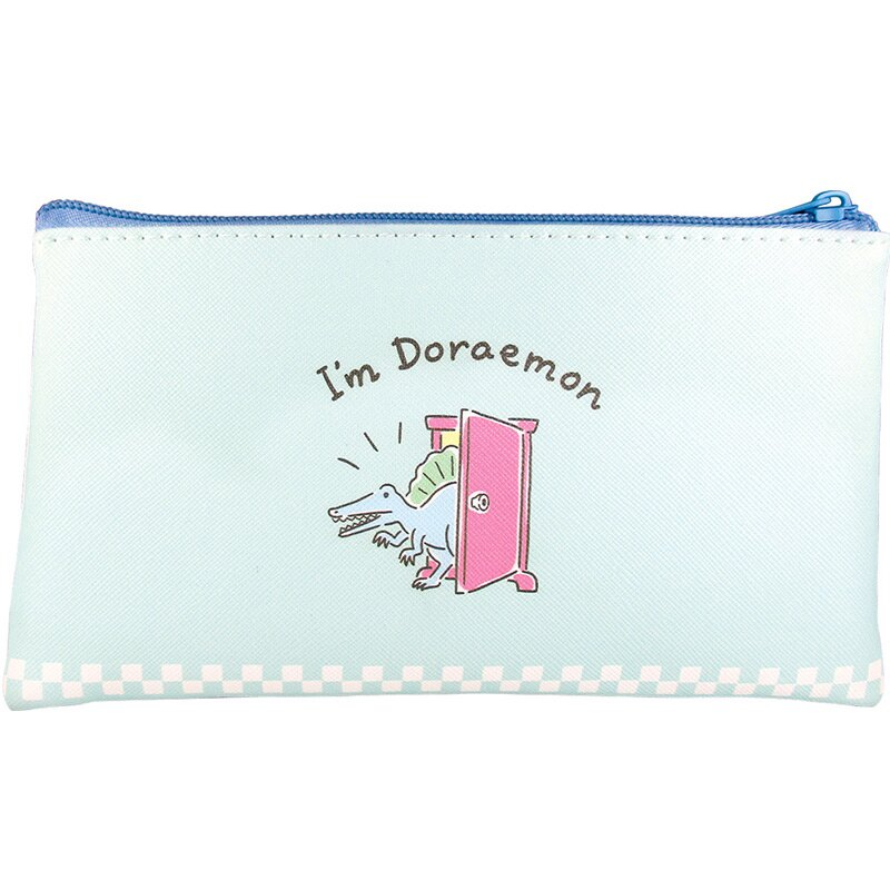 小禮堂 哆啦A夢 皮質扁平拉鍊筆袋 皮質筆袋 鉛筆袋 鉛筆盒 (藍白 恐龍)