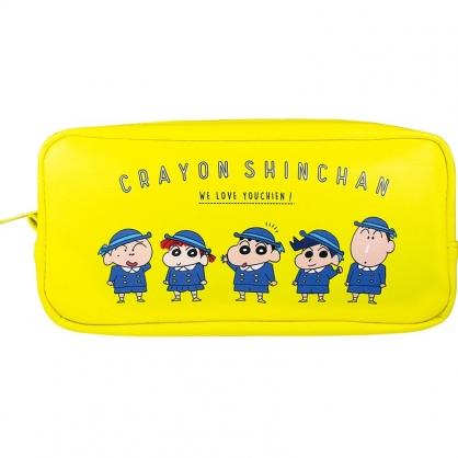 小禮堂 蠟筆小新 方形皮質拉鍊筆袋 皮質筆袋 鉛筆袋 鉛筆盒 (黃 制服)