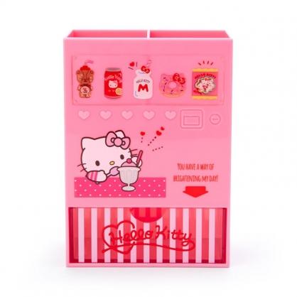 小禮堂 Hello Kitty 販賣機造型塑膠筆筒抽屜盒 刷具筒 文具盒 小物收納 (桃 超市文具)
