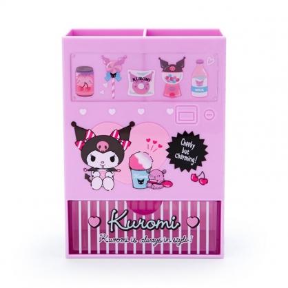 小禮堂 酷洛米 販賣機造型塑膠筆筒抽屜盒 刷具筒 文具盒 小物收納 (紫 超市文具)
