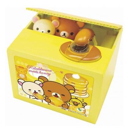 小禮堂 懶懶熊 偷錢箱存錢筒 自動存錢筒 儲金筒 撲滿 (黃 鬆餅)