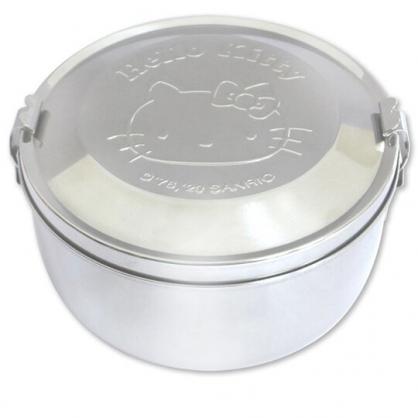 小禮堂 Hello Kitty 圓形不鏽鋼便當盒 雙層便當盒 不鏽鋼餐盒 保鮮盒 (銀 大臉)