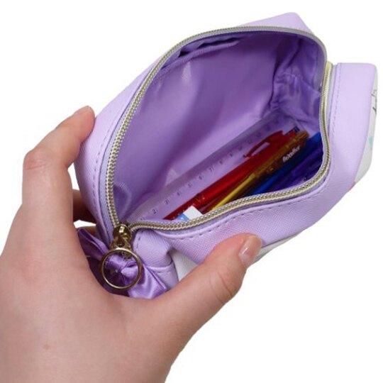 小禮堂 美樂蒂 酷洛米 方形皮質拉鍊筆袋 皮質筆袋 鉛筆盒 鉛筆袋 (紫白 滿版)