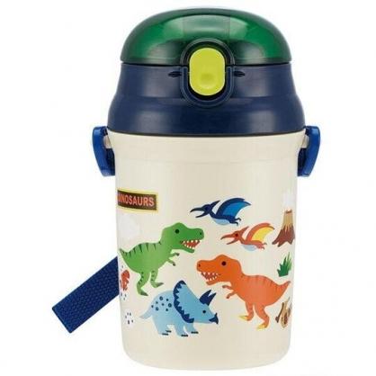 小禮堂 恐龍 日製 直飲式水壺附背帶 塑膠水瓶 兒童水壺 340ml (米藍 火山)
