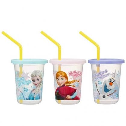 小禮堂 迪士尼 冰雪奇緣 日製 塑膠吸管杯 附蓋 塑膠杯 飲料杯 派對杯 230ml (3入 藍 半身)