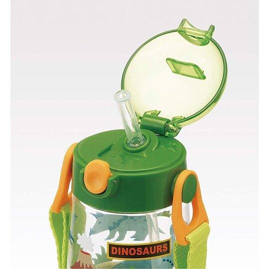 小禮堂 恐龍 透明直飲式水壺附背帶 塑膠水瓶 兒童水壺 480ml (綠 火山)