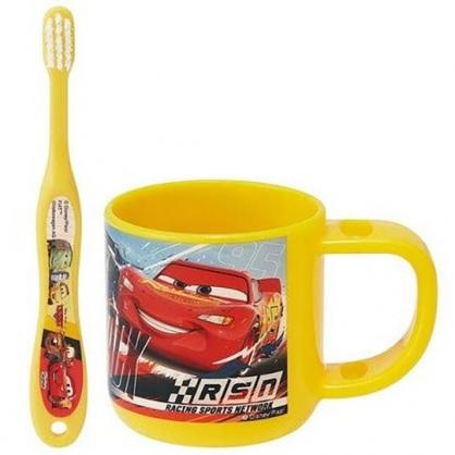 小禮堂 迪士尼 閃電麥坤 兒童牙刷杯組 附牙刷蓋 漱口杯 3-5歲適用 (黃 朋友)