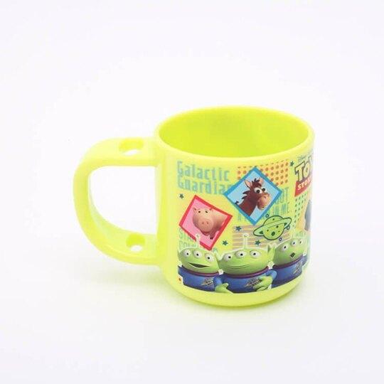 小禮堂 迪士尼 玩具總動員 兒童牙刷杯組 附牙刷蓋 漱口杯 3-5歲適用 (綠藍 格圖)