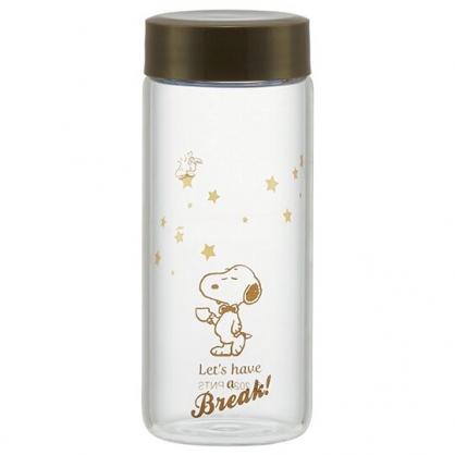 小禮堂 史努比 迷你耐熱玻璃水瓶 透明水瓶 兒童水壺 隨身水壺 250ml (棕蓋 領結)