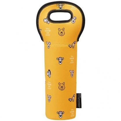 小禮堂 迪士尼 小熊維尼 潛水布水壺袋 環保杯袋 飲料杯袋 500ml以上 (黃 大臉滿版)