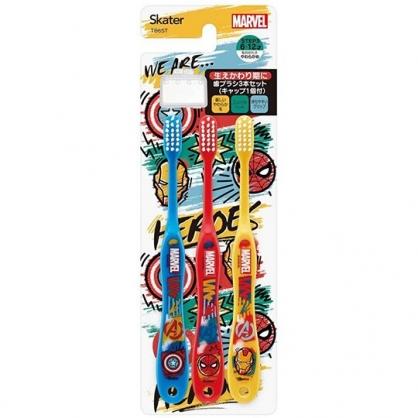 小禮堂 漫威英雄 兒童牙刷 附牙刷蓋 學童牙刷  6-12歲適用 (3入 紅黃 Q版)
