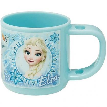 小禮堂 迪士尼 冰雪奇緣 日製 單耳塑膠牙刷杯 兒童水杯 漱口杯 塑膠杯 180ml (藍 圓框)
