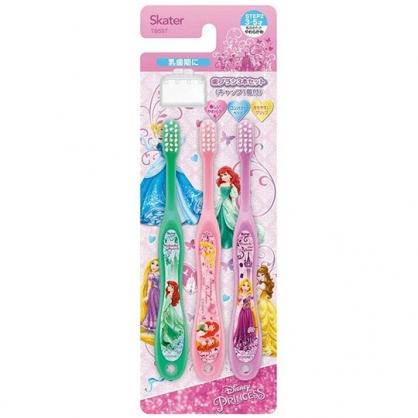 小禮堂 迪士尼 公主 兒童牙刷 附牙刷蓋 學童牙刷  3-5歲適用 (3入 粉 禮服)