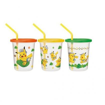 小禮堂 神奇寶貝 日製 塑膠吸管杯 附蓋 塑膠杯 飲料杯 派對杯 320ml (3入 綠黃 樹葉)