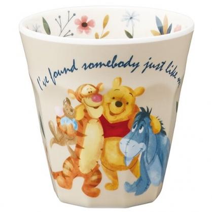 小禮堂 迪士尼 小熊維尼 無把美耐皿杯 塑膠杯 兒童水杯 290ml  (米 搭肩)
