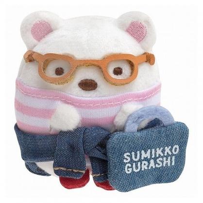 小禮堂 角落生物 北極熊 迷你沙包玩偶 絨毛玩偶 沙包娃娃 (藍白 牛仔裝)