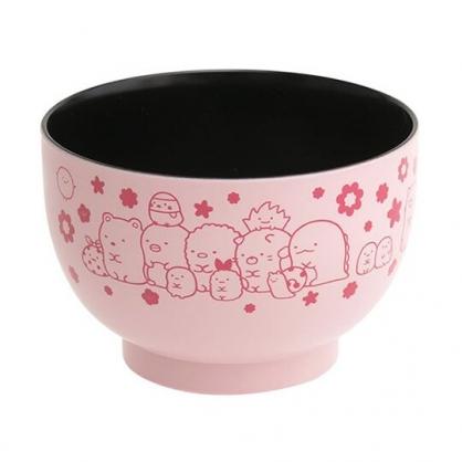 小禮堂 角落生物 日製 可微波塑膠碗 漆器碗 微波碗 飯碗 湯碗 (淡粉 花朵)