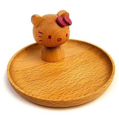 小禮堂 Hello Kitty 造型木質飾品盤 小圓盤 小木盤 肥皂盤 置物盤 (棕 大臉)