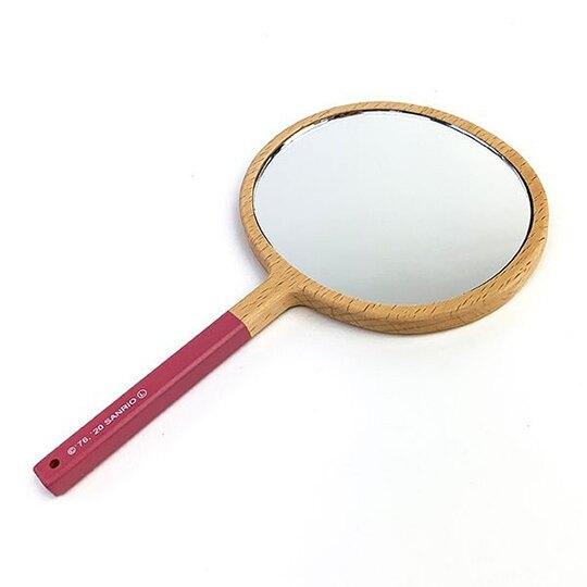 小禮堂 Hello Kitty 木質圓形手拿鏡 木頭鏡子 隨身鏡 化妝鏡 手握鏡 (棕 大臉)