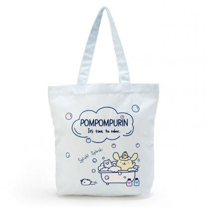小禮堂 布丁狗 直式帆布側背袋 帆布手提袋 書袋 帆布袋 (藍黃 牛奶泡泡浴)