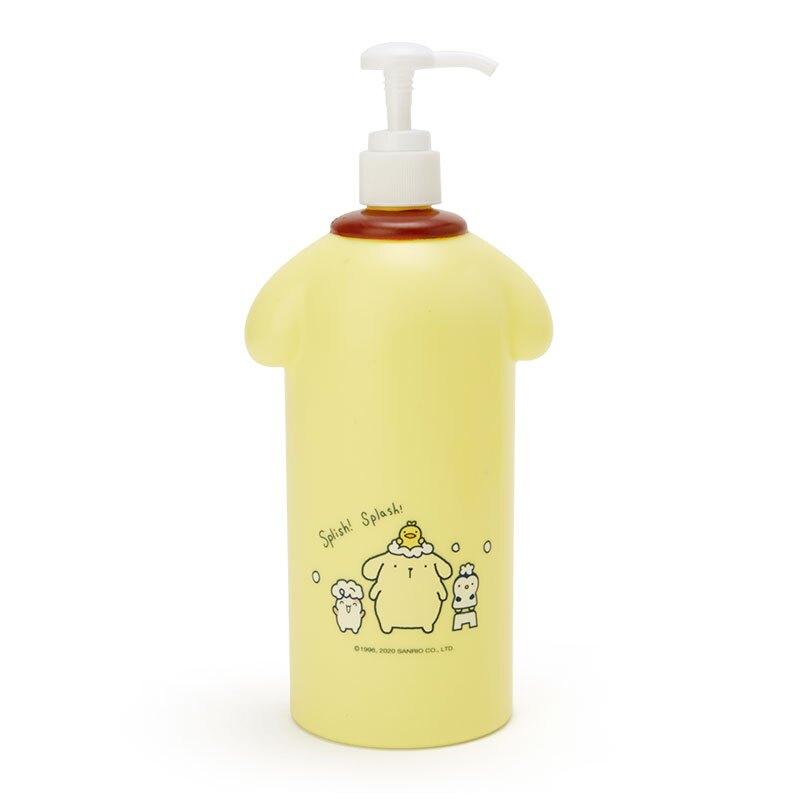 小禮堂 布丁狗 造型塑膠按壓式空瓶 沐浴乳罐 洗髮乳罐 乳液罐 600ml  (黃藍 牛奶泡泡浴)