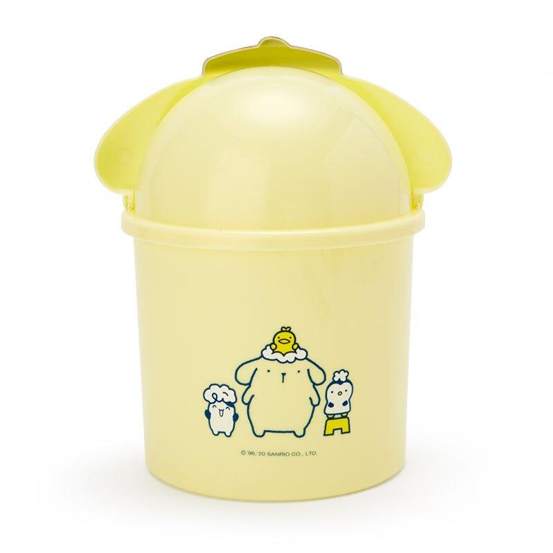小禮堂 布丁狗 造型掀蓋垃圾桶 圓垃圾桶 塑膠垃圾桶 桌上型垃圾桶  (黃藍 牛奶泡泡浴)