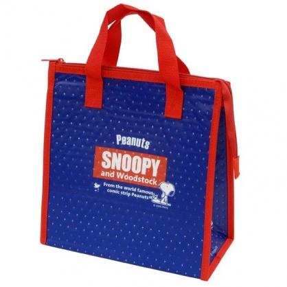 小禮堂 史努比 方形不織布保冷便當袋 保冷提袋 野餐袋 保冷袋 (藍紅 LOGO)