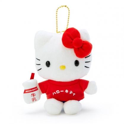 小禮堂 Hello Kitty 絨毛吊飾 玩偶吊飾 玩偶鑰匙圈 (紅白 漢語字典)