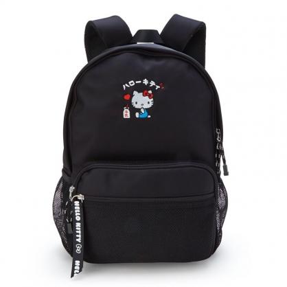 小禮堂 Hello Kitty 尼龍後背包 書包 運動背包 休閒背包 (黑 漢語字典)