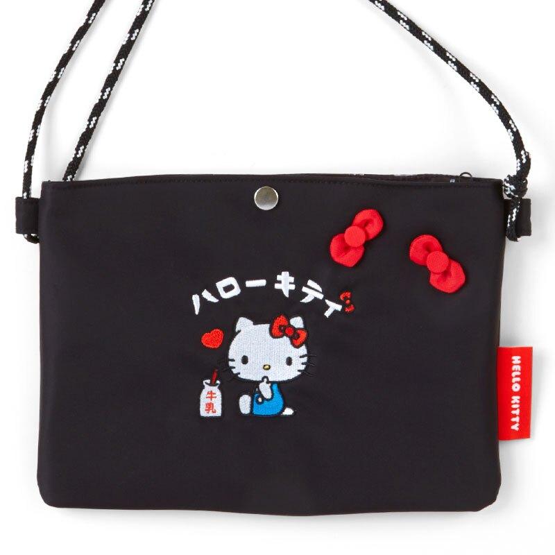 小禮堂 Hello Kitty 方形尼龍扁平斜背袋 尼龍斜背包 休閒背包 隨身背包 (黑 漢語字典)