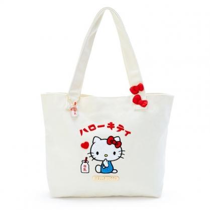 小禮堂 Hello Kitty 橫式帆布側背袋 托特包 帆布手提袋 書袋 帆布袋 (米紅 漢語字典)