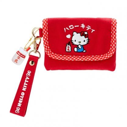 小禮堂 Hello Kitty 掀蓋帆布零錢包 腕繩零錢包 票卡包 小物包 (紅 漢語字典)