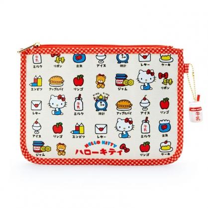 小禮堂 Hello Kitty 帆布扁平收納包 帆布化妝包 文具袋 小物包 (米紅 漢語字典)