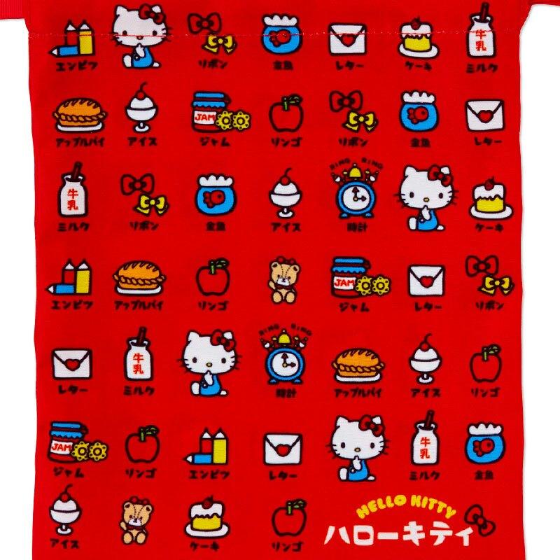 小禮堂 Hello Kitty 棉質束口袋組 旅行收納袋 小物收納袋 縮口袋 (3入 紅黑 漢語字典)