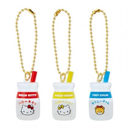 小禮堂 Hello Kitty 牛奶瓶造型壓克力吊飾組 壓克力鑰匙圈 塑膠吊飾 (3入 漢語字典)