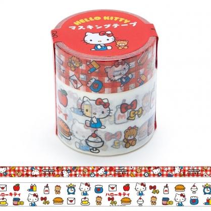 小禮堂 Hello Kitty 紙膠帶組 裝飾膠帶 膠布 禮物包裝 手帳裝飾 (2入 紅白 漢語字典)