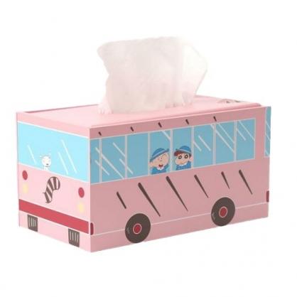 小禮堂 蠟筆小新 木製拿蓋面紙盒 抽取式紙巾盒 衛生紙盒 (粉 校車)