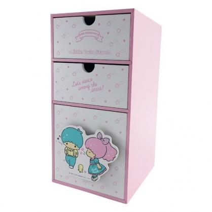 小禮堂 雙子星 直式木質三抽收納櫃 抽屜櫃 三層櫃 小木櫃 桌上型收納櫃 (粉綠 45週年)