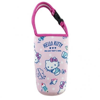 小禮堂 Hello Kitty 潛水布水壺袋 環保杯袋 飲料杯袋 (粉 冰淇淋)