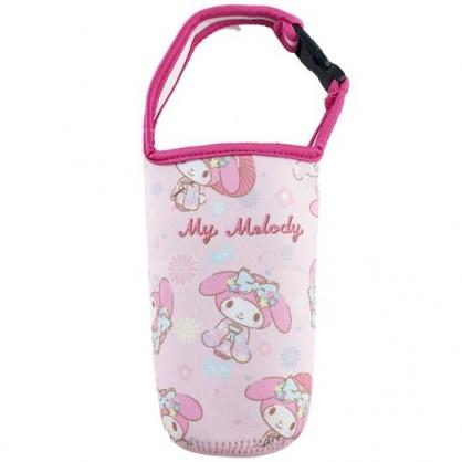 小禮堂 美樂蒂 潛水布水壺袋 環保杯袋 飲料杯袋 (粉 和服)