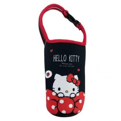 小禮堂 Hello Kitty 潛水布水壺袋 環保杯袋 飲料杯袋 (黑紅 蝴蝶結)