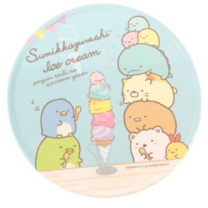 小禮堂 角落生物 圓形美耐皿隔熱墊 塑膠隔熱墊 鍋墊 止滑墊 (藍 冰淇淋)