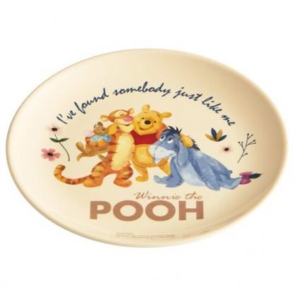 小禮堂 迪士尼 小熊維尼 圓形美耐皿盤 圓盤 點心盤 塑膠盤 (黃 搭肩)