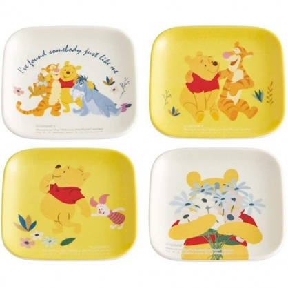 小禮堂 迪士尼 小熊維尼 迷你方形美耐皿盤 方盤組 醬料盤 小菜盤 塑膠盤 (黃白 搭肩)